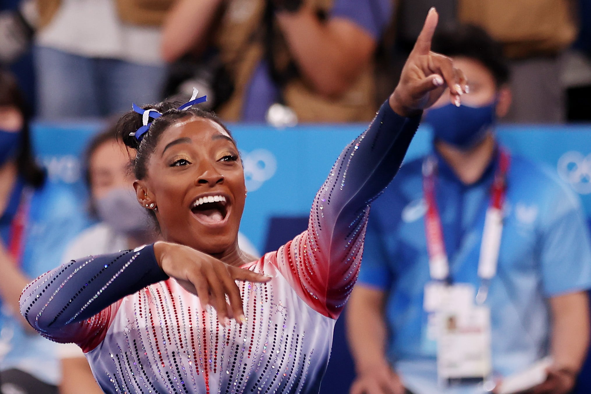 TOKYO, JAPAN - AUGUST 03: Simone Biles of Team United States reacts during the Women's Balance Beam Final on day eleven of the Tokyo 2020 Olympic Games at Ariake Gymnastics Centre on August 03, 2021 in Tokyo, Japan. (Photo by Laurence Griffiths/Getty Images)