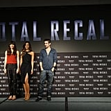 Jessica Biel, Kate Beckinsale, and Colin Farrell attended the Total Recall photocall in Cancun, Mexico.