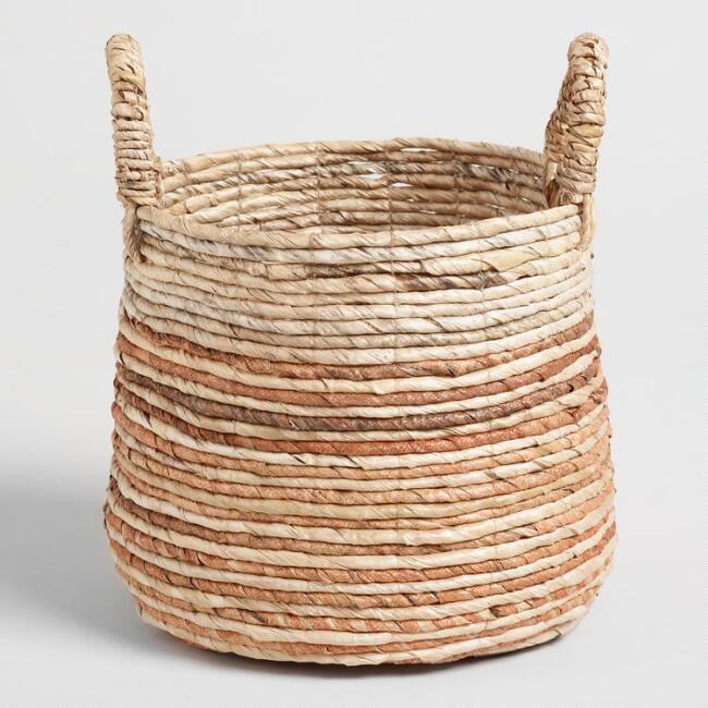 Small Rust Banana Leaf Sadie Tote Basket
