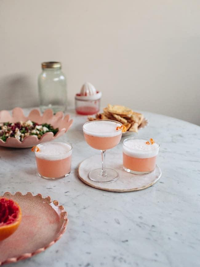 Aquafaba Grapefruit Gin Sour Cocktail