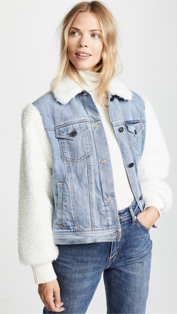 La Vie Rebecca Taylor Classic Denim & Faux Fur Jacket