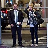 Claire Danes got off of a plane at LAX.