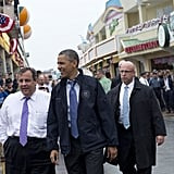 President Obama and New Jersey Governor Chris Christie toured through Point Pleasant, NJ, to view efforts to rebuild in the wake of Hurricane Sandy.