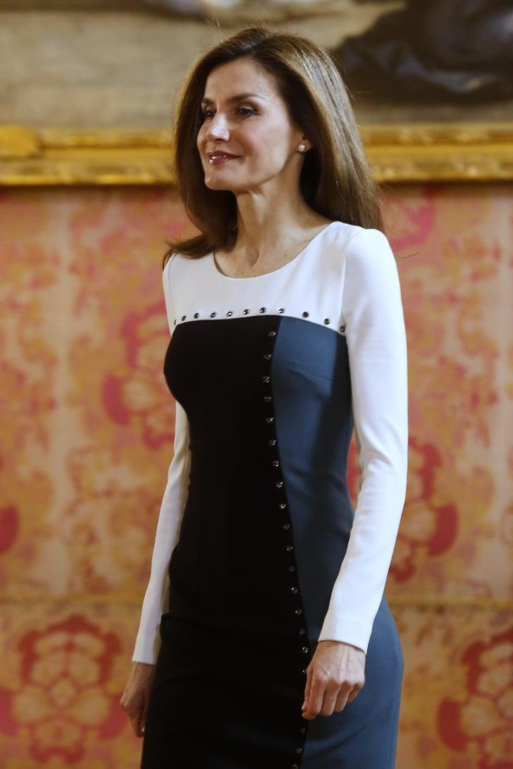 Queen Letizia S Colorblock Dress April 2017 Popsugar