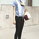 Lindsey Wixson looked perfectly preppy in jeans and flats.