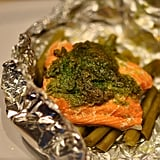 Salmon With Green Beans and Spinach Pesto