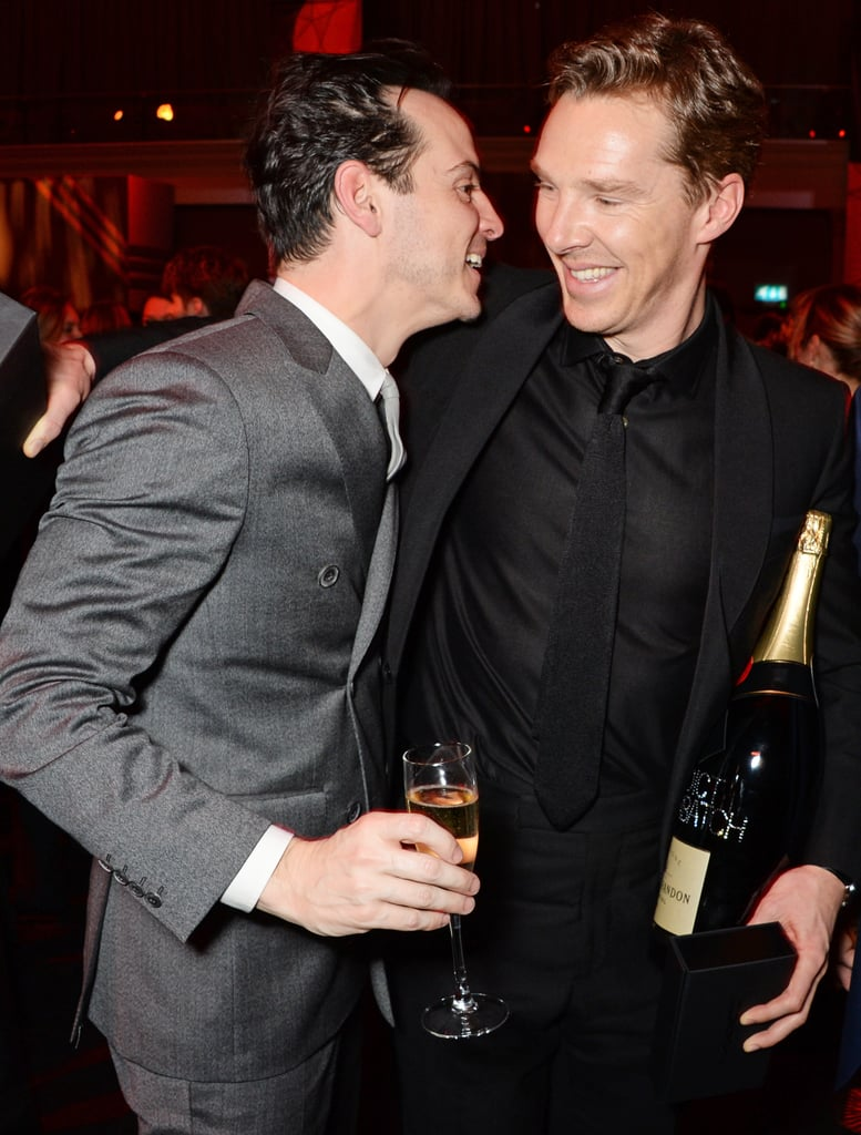 """Benedict Cumberbatch proved to be the most popular man of the hour when he attended the 2014 British Independent Film Awards in London on Sunday. The actor, who was awarded the Variety Award for helping """"focus the international spotlight on the UK,"""" received kisses from not only his Imitation Game costar Keira Knightley, but also his Sherlock enemy Andrew Scott, who nabbed an award of his own for best supporting actor in Pride. Benedict also received a bit of attention from Emma Thompson who took home the Richard Harris award for her contributions to British film. Benedict's new fiancée, Sophie Hunter, was likely not bothered by all the attention Benedict was receiving, as she was by his side during the entire event. Keep reading to see all the snaps from Benedict's night out, and be sure to vote for Benedict in our favourite guy of the year poll!"""