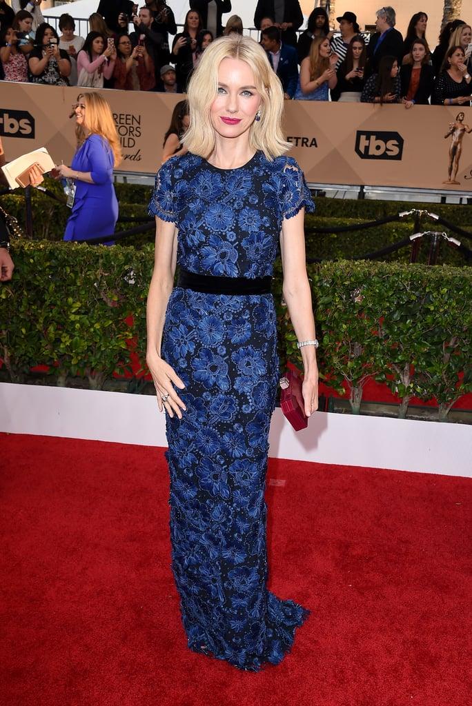 Naomi Watts a gorgeous blue lace Burberry dress.