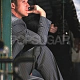 Ryan Gosling had a pensive moment on set.