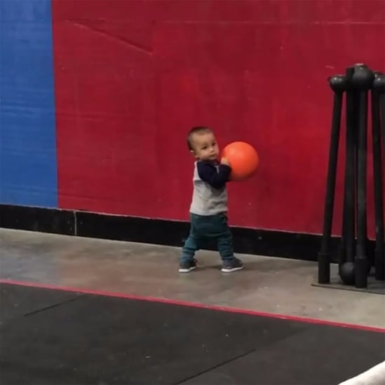 Toddler Doing CrossFit Wall Balls