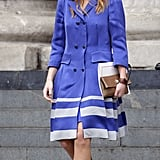 Princess Beatrice wore a cornflower blue Kinder Aggugini dress which she teamed with Kurt Geiger Gina heels and a Lemeresca clutch.