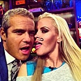 Jenny McCarthy drew a mustache on her face for Andy Cohen on Watch What Happens: Live. Source: Instagram user bravoandy