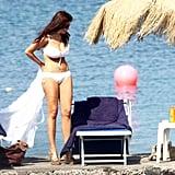 Sofia revealed her hot bikini body on the beach in Italy in July 2010.