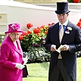 Queen Elizabeth and Peter Phillips wore similar hats to the Royal Ascot in 2014.