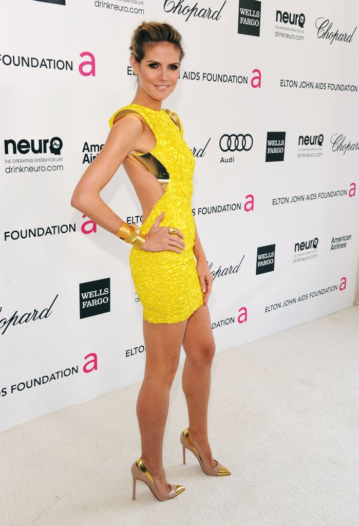 Heidi Klum in a Yellow Atelier Versace at Elton John's 2012 Oscars Viewing Party