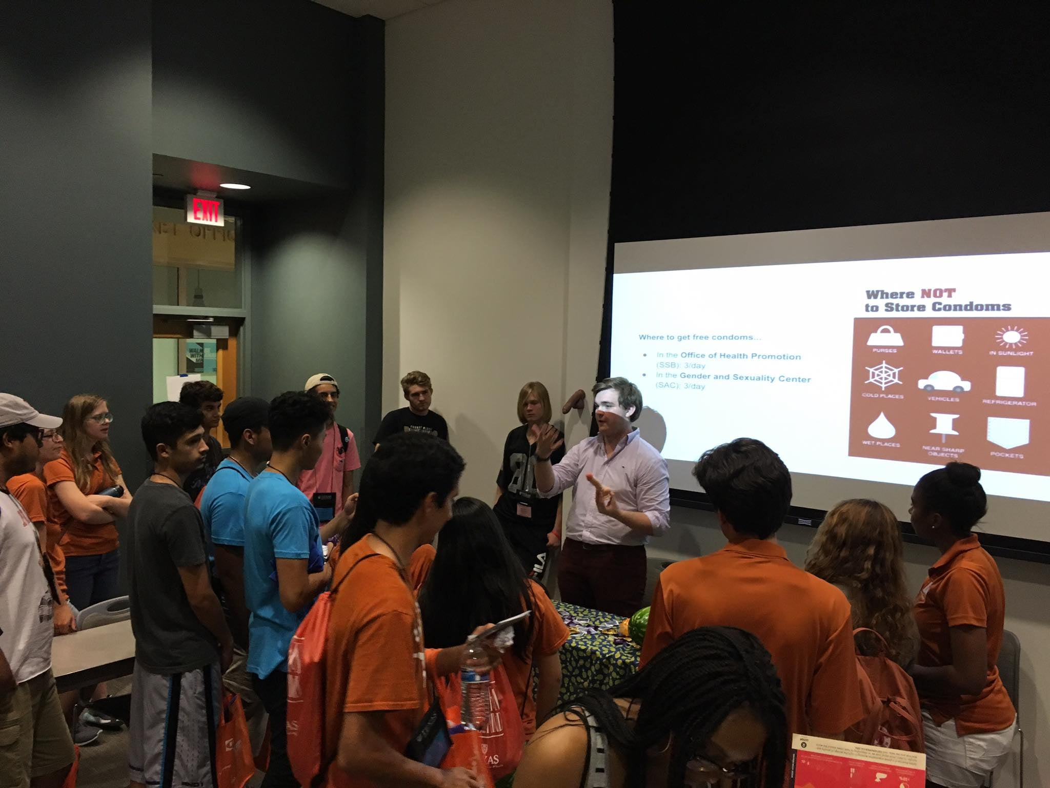 Conor McCole leading a UTerus sex education session at the University Of Texas.