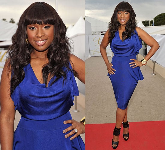 Jennifer Hudson in Gucci Sandals and Blue Cobalt Draped Dress at 2010 Cannes Film Festival