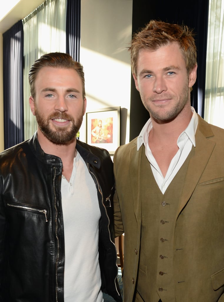 Chris Evans and Chris Hemsworth made one very handsome duo when they linked up backstage at the MTV Movie Awards in LA on Monday. The Avengers co-stars hit the stage with their cast mates during the show to present Robert Downey Jr. with the Generation Award, later pairing up to pose for a picture backstage. It's official: sexy stars named Chris are stealing the spotlight in Hollywood! Check out the best pictures of the handsome Chrises, then see all the stars on the MTV Movie Awards red carpet.