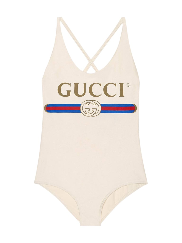 79f50720d1a Gucci Sparkling Swimsuit With Gucci Logo | Bella Hadid Chanel One ...