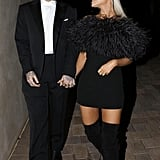 Ariana Grande started off the year by Mac Miller's side at Madonna's Oscars afterparty in LA. Her feathered Saint Laurent minidress dress was worth a whopping $11,900, and Ariana styled the piece with Le Silla thigh-high boots.