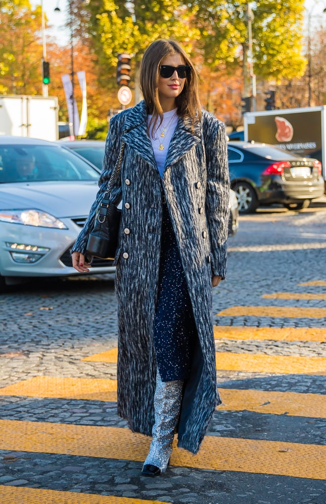Let your sequined boots peek out from under your long, tailored coat.
