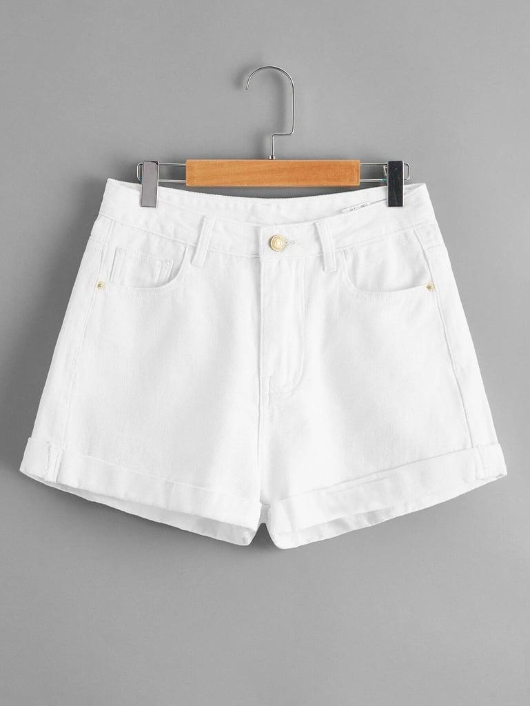 Shein Rolled Hem Slant Pocket Denim Shorts