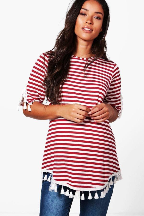 Boohoo Maternity Ellie Stripe Tassel T-Shirt