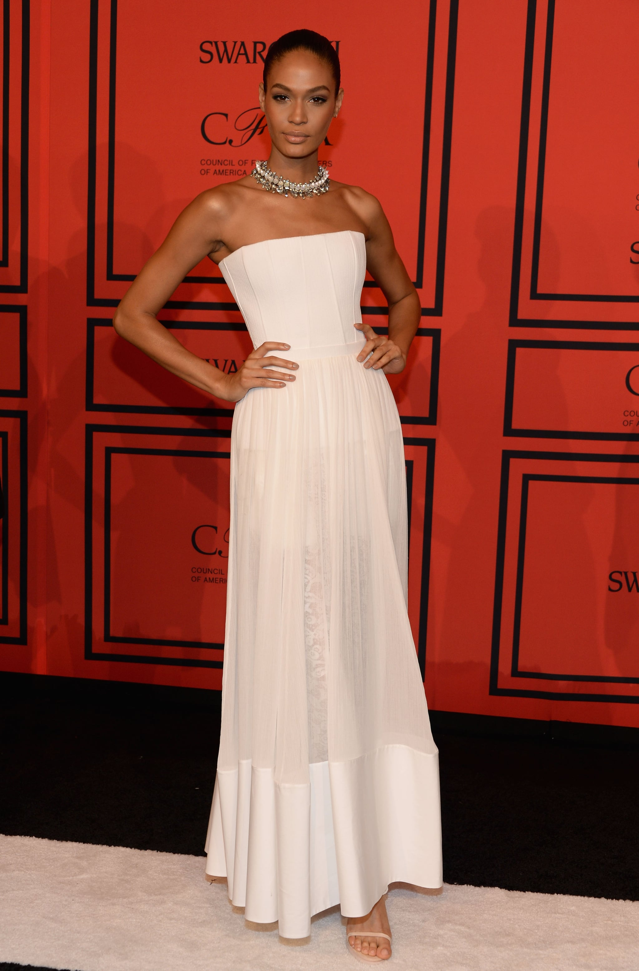 Joan Smalls, in Givenchy by Riccardo Tisci Resort 2014, at the 2013 CFDA Awards.