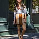 Smarten a striped ensemble styled with brogues.