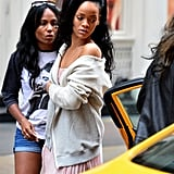 Rihanna exited a cab in NYC.