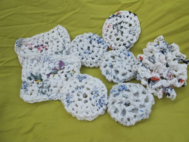 Plastic Bag Pot Scrubbers