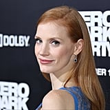 Jessica Chastain With Deep Side Part and Straight Hair in 2012