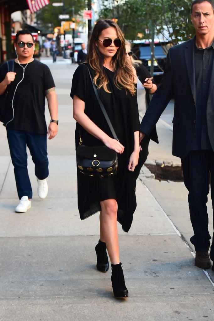 Chrissy Teigen Wearing The Row Black Dress October 2016