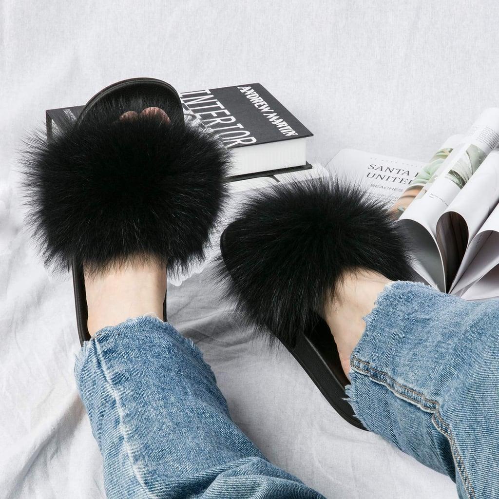 NewYouDirect Fox Fur Slides