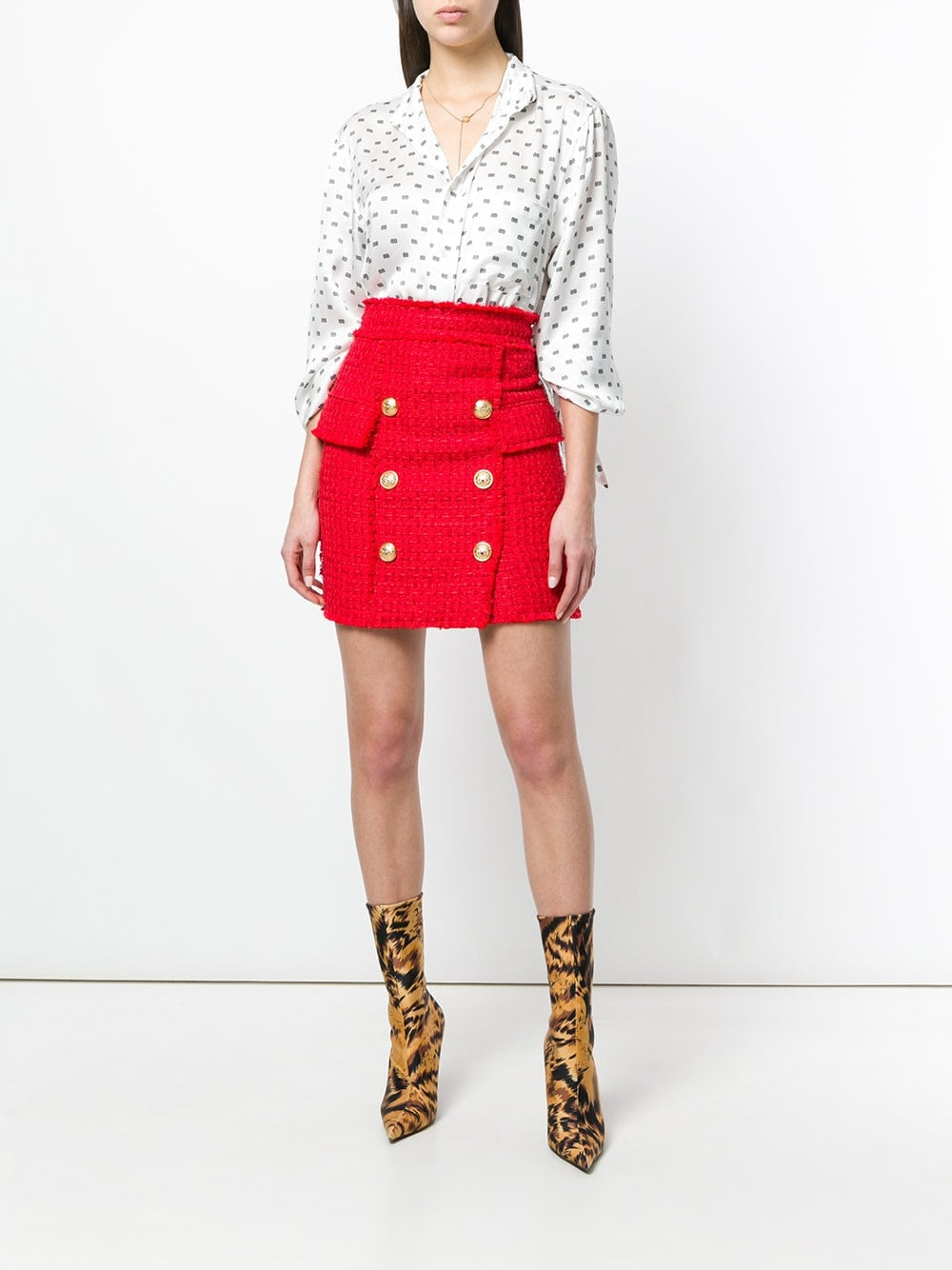 9f2ea2ab Balmain Button-Embellished Tweed Skirt | Amal Clooney Found the Most ...