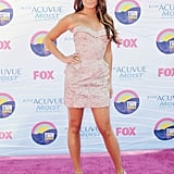Lea stepped out for the 2012 Teen Choice Awards in a sultry, pale gray mini dress from Versace.