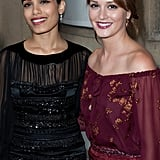 Leighton Meester and Freida Pinto got together at the Salvatore Ferragamo Resort collection show in Paris.
