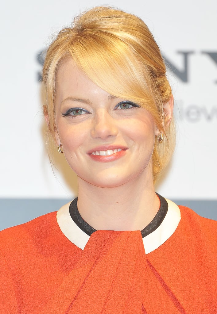 Emma Stone wore her hair back for the press conference for The Amazing Spider-Man in Japan.