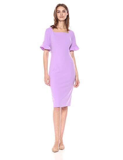 Donna Morgan Sheath Dress with Ruffle Sleeve
