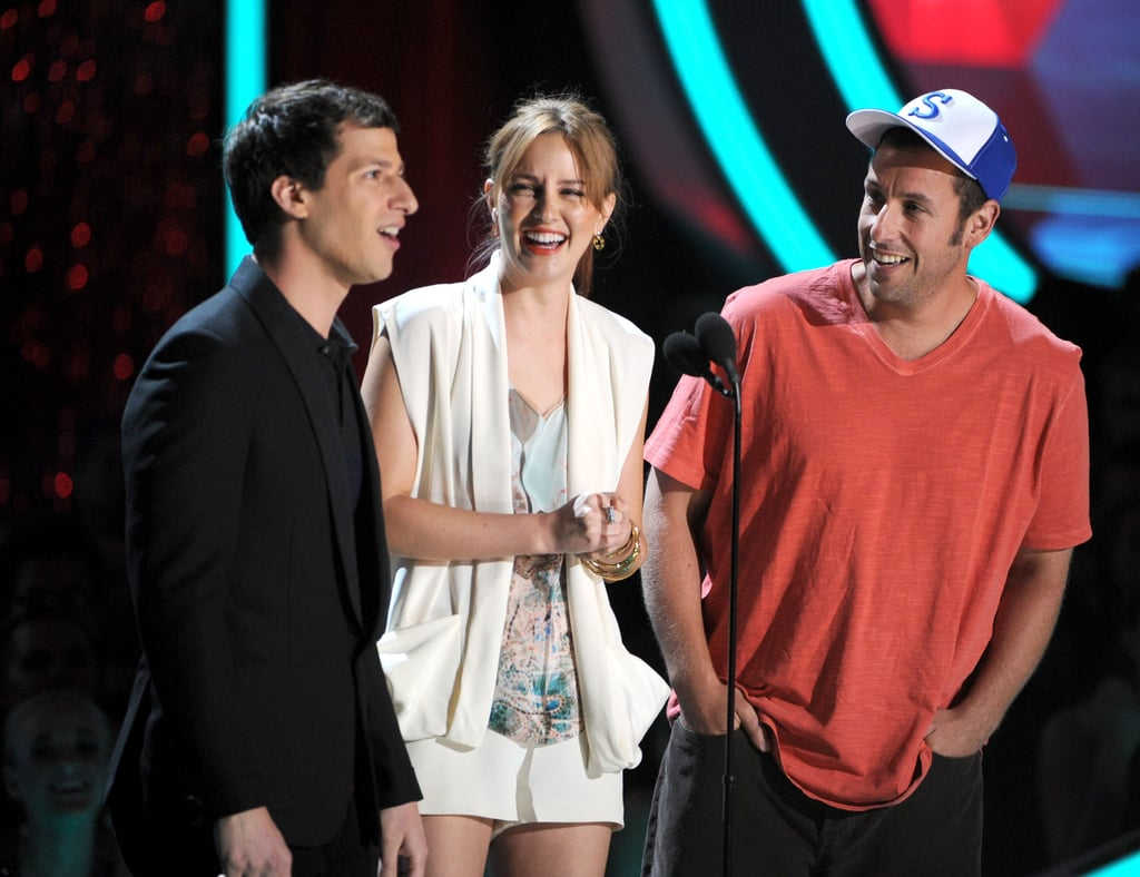 Andy Samberg, Leighton Meester, and Adam Sandler joked together on stage.