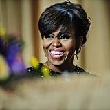 Michelle Obama laughed.