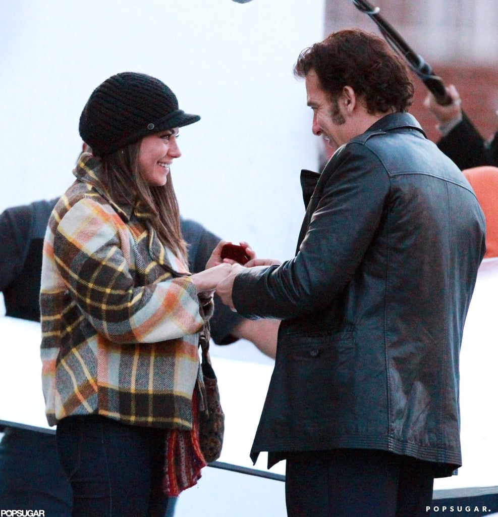 Mila Kunis and Clive Owen filmed an engagement scene on the set of Blood Ties in NYC.