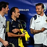 Soccer stars Iker Casillas, Landon Donovan, and David Beckham showed off the new Herbalife jerseys.