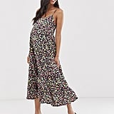 New Look Maternity strappy tier midi dress in black floral pattern | ASOS