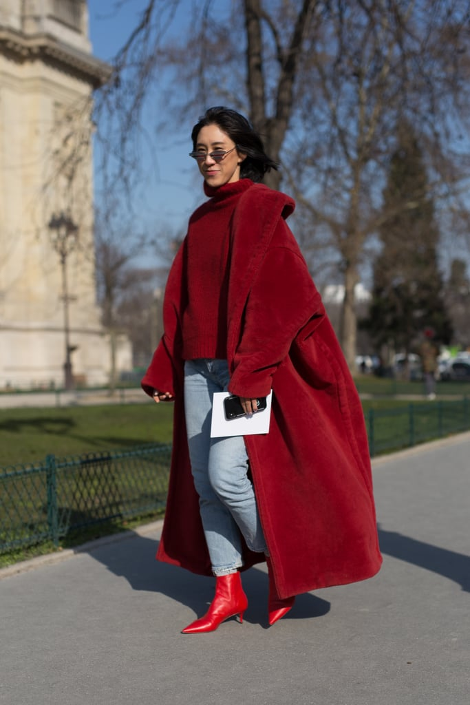 A Red Jumper, Light Denim, Oversized Scarlett Coat, and Ruby Boots