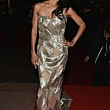 Jada Pinkett Smith wore a gold strapless gown at the Haiti: Carnival in Cannes event.