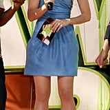Lily Collins looked polished in a blue one-strapped number on stage at the 2009 Kids' Choice Awards.