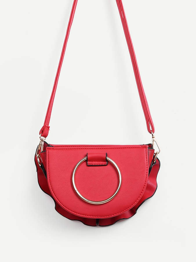 Shein Ruffle-Trim Ring-Handle Shoulder Bag