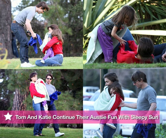 Photos of Tom Cruise, Katie Holmes, and Suri Cruise at a Park in Australia