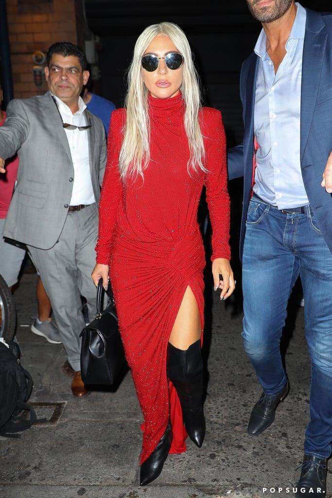 Lady Gaga Red Dress October 2018